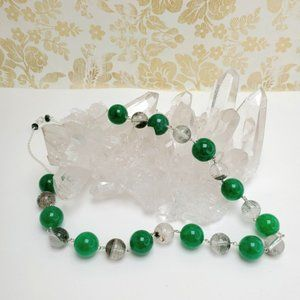 Chinese green jade and moss crystal necklace
